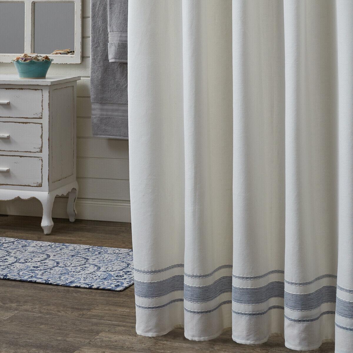 Park Design Ruffled Shower Curtain 72 x 72 Inches White Formal  Bathroom