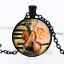 Violon Musical Instrument dôme en verre noir chaîne collier pendentif en gros