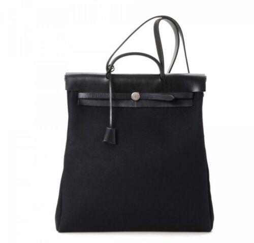Hermes Toile HERBAG Black Handbag
