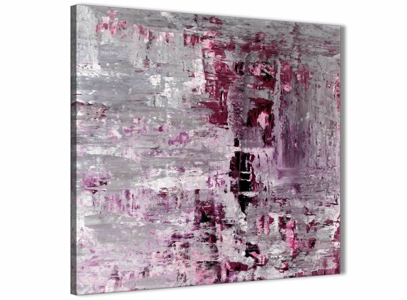 Plum grau Abstract malerei wand kunst drucken Canvas - Modern 79cm Square - 1s359l