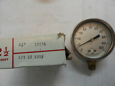 Ashcroft Stainless Sanitary Pressure Gauge 2 12 Dial 100 Psi 1009a