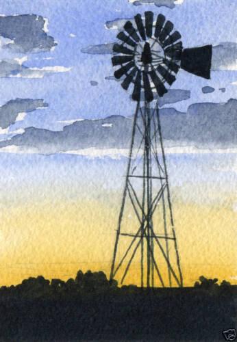 WINDMILL Giclee 5 X 7 Art Print on W//C Paper Signed by Artist DJR