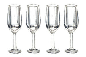 Champagne-Flutes-Set-Of-Four-Dolls-House-Miniature-1-12-Scale