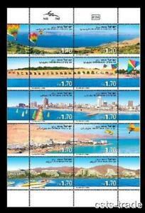 ISRAEL-BEACH-COAST-STAMPS-2011-SHEET-DEAD-SEA-TEL-AVIV-MNH