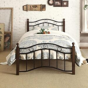 image is loading twin bed frame black metal scroll brown wood - Metal Frame Twin Bed