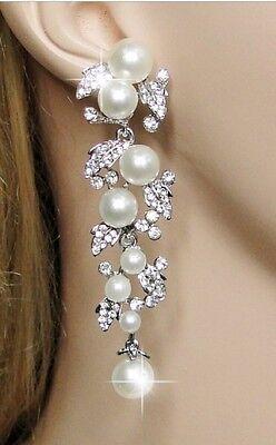 Bridal Wedding Luxury Austrian Crystal Ivory Pearl Gold Tone Dangle Earrings