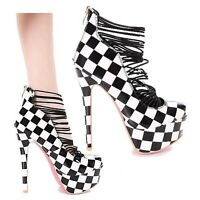 Round Toe Pump High Heel Sandal Checker Platform Pink Sole Women's Shoes