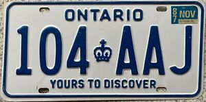 Ontario-Yours-To-Discover-Canada-License-Canadian-Licence-Number-Plate-104-AAJ