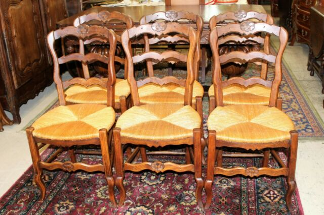 Set of 6 French Antique Louis XV Oak Rush Seat Chairs | Dining Room Furniture