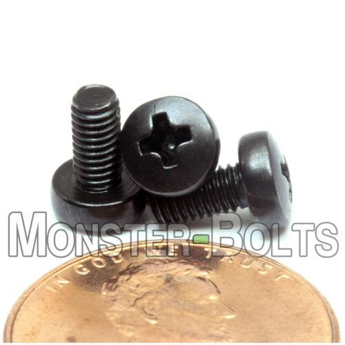 M3 x 6mm  Phillips Pan Head Machine Screws Steel w// Black Oxide  DIN 7985 A