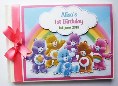 PERSONALISED CARE BEARS BOY/GIRL /FIRST/1ST BIRTHDAY GUEST BOOK - ANY DESIGN