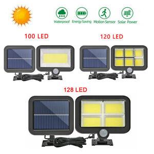 COB 100LED Solarleuchte mit Bewegungsmelder Solarstrahler Außen Gartenlampe DHL