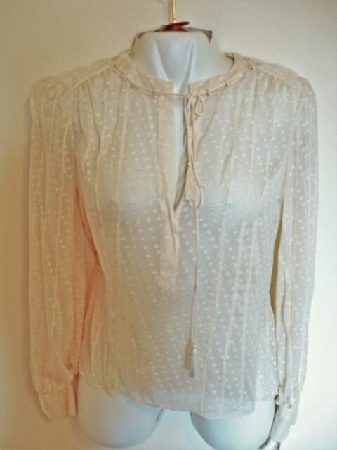 10f85d413d83a NEW Calvin Klein 100% Silk Beige Peasant Blouse Top Tie Front Long Sleeves  Sz 8