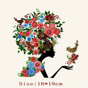 Flower-Bird-Patch-Iron-on-Transfer-Washable-Cloth-Patch-Dress-DIY-Decor