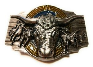 WESTERN-STEER-BULL-Rope-Cowboy-Rodeo-Style-Belt-Buckle-Roping-enamel-USA
