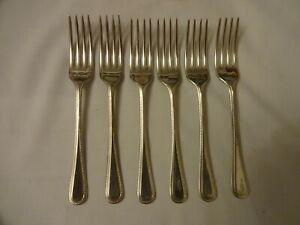 Vintage-Beaded-Dessert-Forks-x-6-Silver-Plated-EPNS-A1-Sheffield-17-cm
