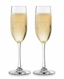 Details About 2pk Personalized Champagne Flutes Custom Engraved Toasting Glasses
