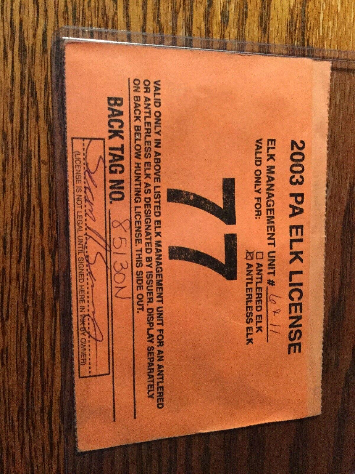2003 Pa ELK licencia   ... también están disponibles otros años