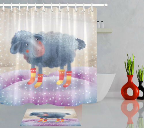 Cartoon Sheep with Socks Shower Curtain Liner Bathroom Polyester Fabric /& Hooks