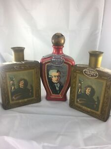 Lot-Of-3-Jim-Beam-Collectible-Bottles-Frans-Hals-And-Wolfgang-Mozart-1970-s