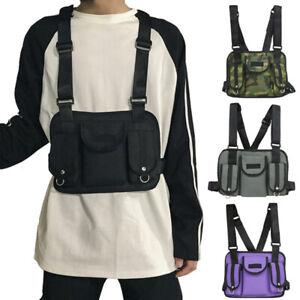 Details About Men Women Street Wear Vest Tactical Pack Chest Bag Backpack Shoulder