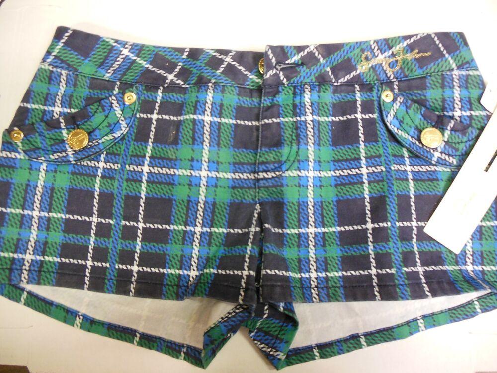 Sean John Filles Bleu Vert Blanc à Carreaux Short Taille 7 Original 010620dbt8