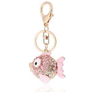 Handbag-Buckle-Charms-Accessories-Pink-Crystal-Fish-Keyrings-Key-Chains-HK5