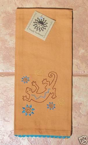 Gecko//Lizard Tea Towel Stitched Lizard Pattern KayDee