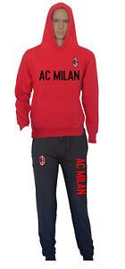 Felpata Rossa Con Nero Milan Cappuccio Tuta Patch Felpa Pantalone E qwWYxAW1p0