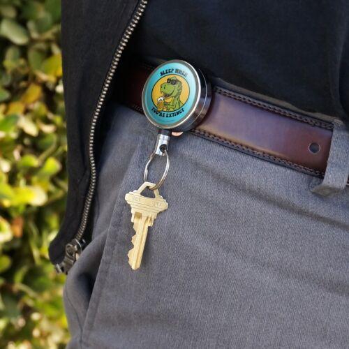 Sleep When Your Extinct Dinosaur Funny Retractable Belt Clip Badge Key Holder