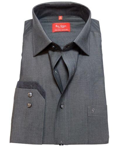 Ben Green Regular Fit Business Camicia manica lunga GRIGIO SCURO mis 40-48 libero di staffa