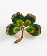Petite 14k Gold Art Nouveau Enamel Diamond & Pearl Four Leaf Clover Brooch Pin