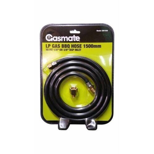 GASMATE LP GAS BBQ HOSE 1500MM - FIT 1/4 BS OR 3/8 BSP INLET