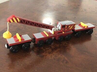 Thomas Wooden Railway Engine Tractor Breakdown Crane Rocky 2 Carts Excel Ebay