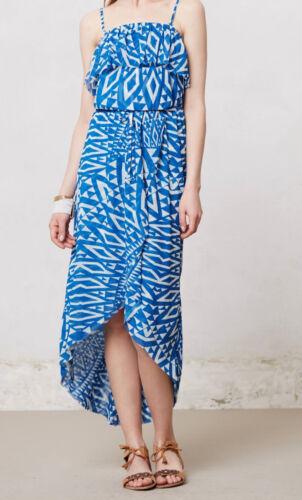 M Sweet Pea Mesh Ruffled Azul Dress Size S L Blue Motif NW ANTHROPOLOGIE Tag