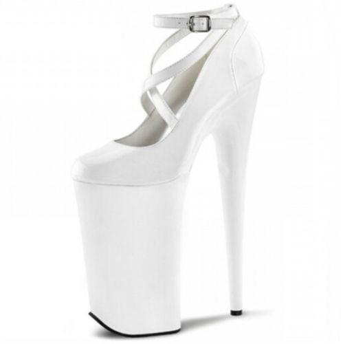 Les femmes en cuir Super Haute Talon Aiguille Bride Cheville Plateforme Parti Clubwear shoes