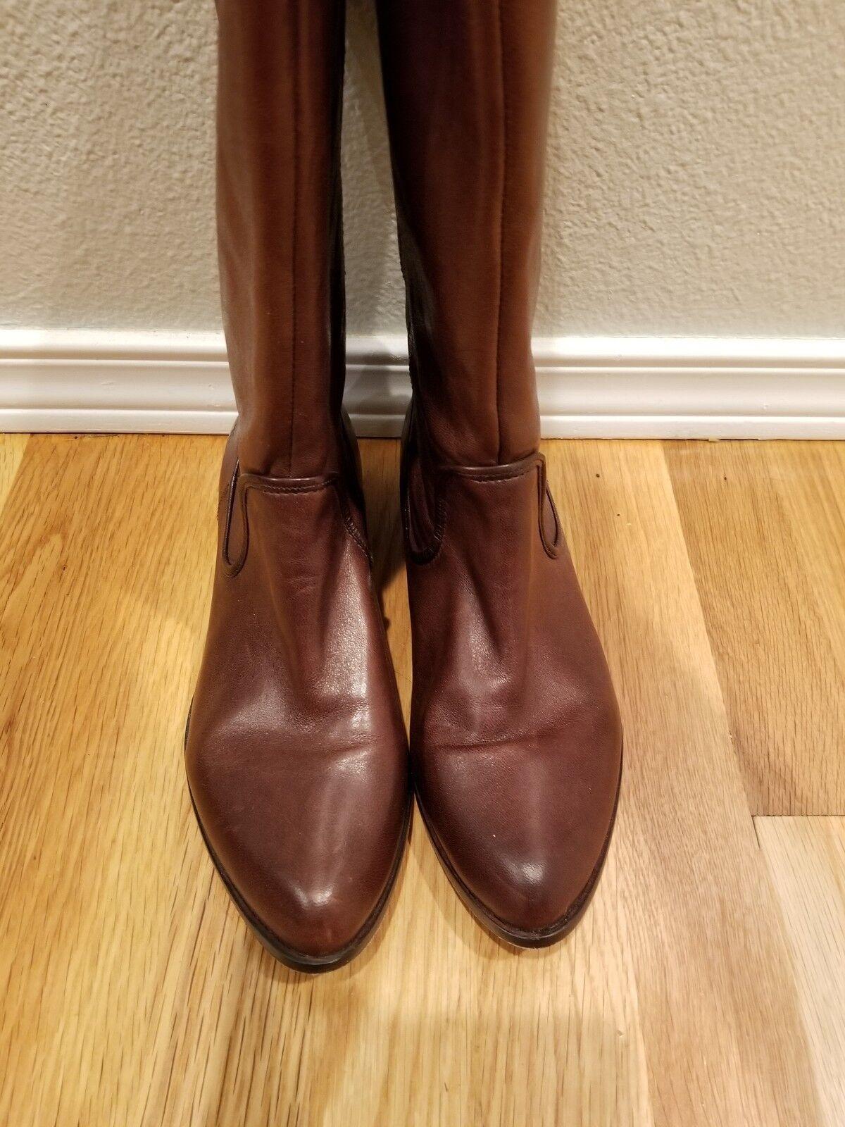 Frye Cindy Slouch Marrón Cuero Suave botas altas para mujer 7.5; Excelente Estado