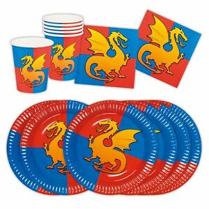 Image is loading Boys-Knights-Dragon-Medieval-Feast-Birthday-Partyware-Set-  sc 1 st  eBay & Boys Knights Dragon Medieval Feast Birthday Partyware Set Cups ...