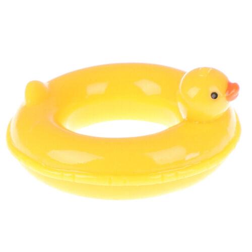 1:6 1:12 Dollhouse miniature yellow duck life swim ring for doll dollhouse decJB