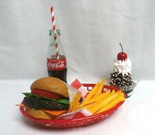 Fake Food Diner Car Hop Jumbo Cheeseburger Withfries Sundae And Bottle Of Coke