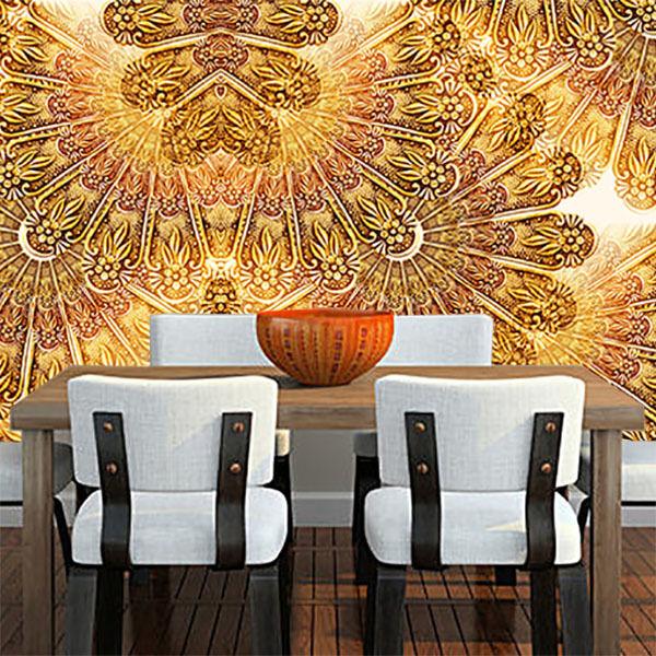3D Golden Flower Art WallPaper Murals Wall Print Decal Wall Deco AJ WALLPAPER