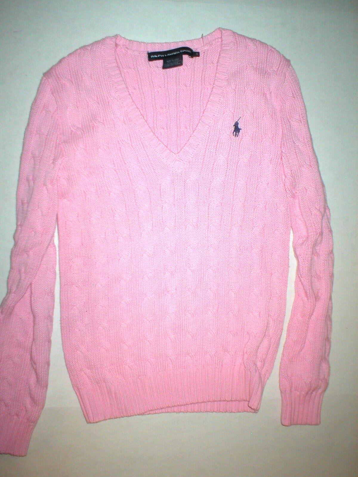 New Womens Ralph Lauren Sport Sweater Top Small Pink Casual S Pretty Chain Twist