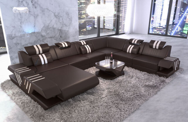 Wohnlandschaft Eckcouch Roma Xl Designersofa Couch Mit Led Usb