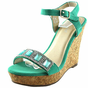 fbbe77ab3cf95 New women s shoes sandals open toe wedge turquoise blue rhinestones ...