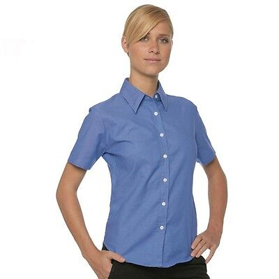 FRUIT OF THE LOOM OXFORD ATLANTIC BLUE LADY FIT SHORT SLEEVED SHIRT EASY CARE