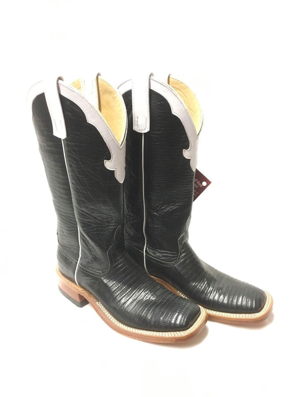 Señoras Señoras Señoras Anderson Bean botas-Nrha dedo del pie cuadrado de lagarto negro, estilo 4038J  buena reputación