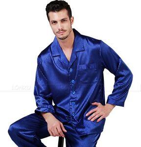 Mens-Silk-Satin-Pajamas-Pyjamas-Set-Sleepwear-Loungewear-S-4XL-Plus