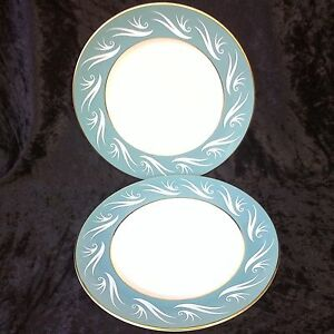 Vintage Porcelana Imperio 2x placas laterales Ascot 20cm 60s Verde Blanco Borde De Oro  </span>