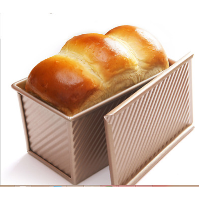 Pullman Loaf Pan w Cover Bread Toast Mold Non Stick Gold Aluminized Steel 8.35x4