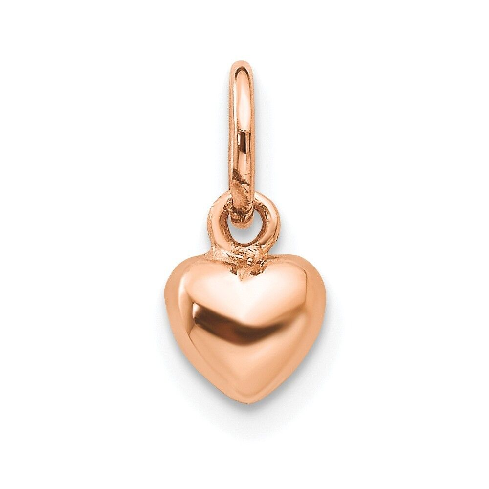 14kt pink gold Solid Polished 3-Dimensional Small Heart Charm; 12 mm